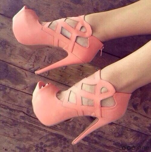 shoes high heels pink strappy heels