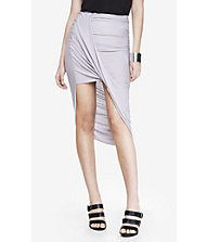 LOOP FRONT ASYMMETRICAL SKIRT - LIQUID GRAY from EXPRESS