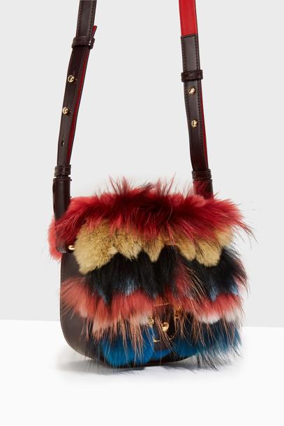 PAULA CADEMARTORI cross fur embellished bag