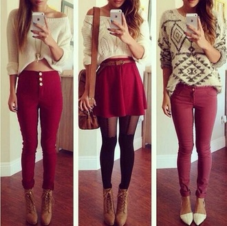 burgundy buttons socks tights belt jewels