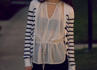 tie up blouse sheer blouse blue white stripes halter neck cardigan nautical