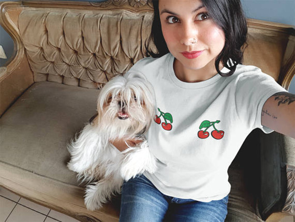 t-shirt magic ant shirts shirt t-shirt cherry pinterest instagram girls outfit womens outfit cherry cherry outfit gift ideas t-shirt denim with cherries