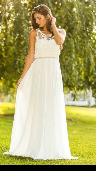 dress long dress floor length floor length dress white dress white beige lace lace dress sleeveless girly formal pretty beautiful tumblr evening dress summer event night party party dress prom prom dress
