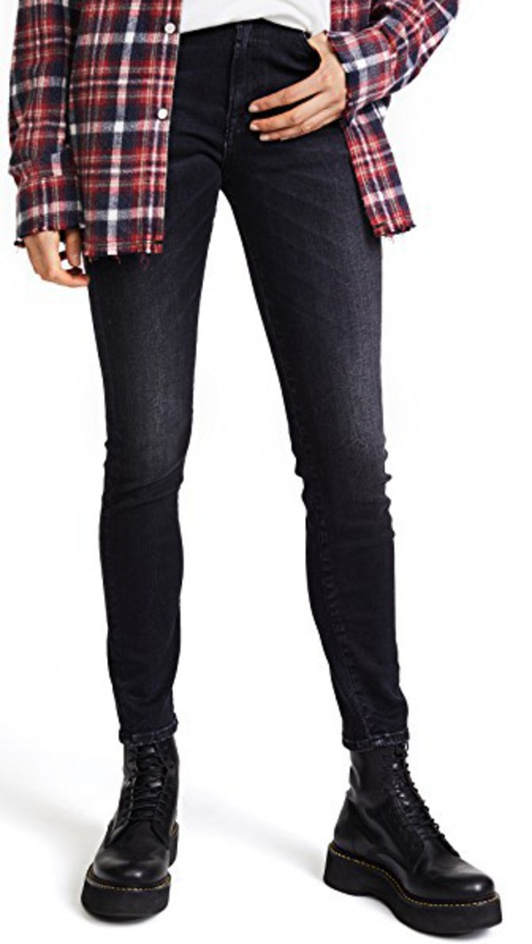 R13 High Rise Skinny Jeans in black