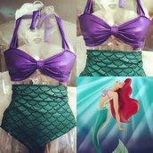 swimwear,bikini,purple,green,sea,ocean,the little mermaid,disney,princess,old fashion,pretty,gorgeous,monokini,disney princess,mermaid,high waisted bikini