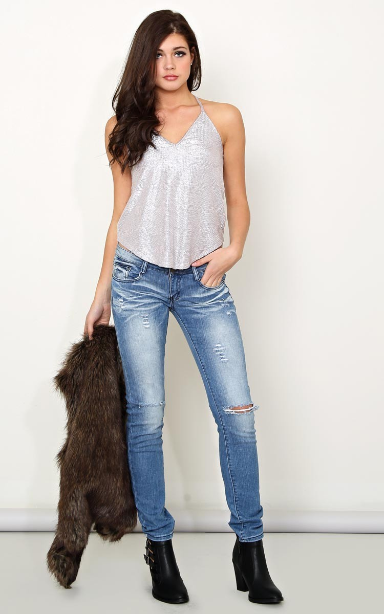 Machine french distressed jeans