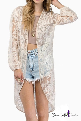 cardigan lace nude beige kimono cream beach summer long sleeves trendy beautifulhalo