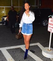 skirt,shirt,velvet shoes,boots,rihanna,streetstyle,mini skirt,denim skirt,top,blouse,shoes