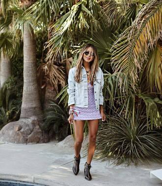 dress purple dress dots dress boots black boots denim jacket sunglasses