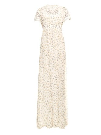 gown daisy print silk white dress