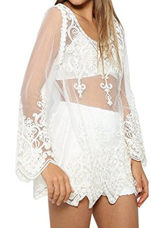 Women summer trumpet sleeve lace gauze t shirt casual blouse tops at amazon women's clothing store: