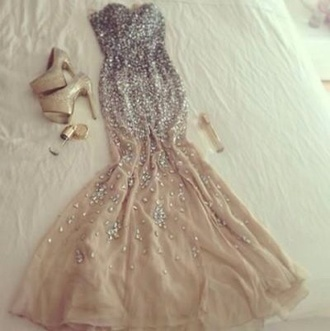 dress gorgeous prom dress sparkle dress evening dress long prom dress sequin dress diamonds nude champaign mermaid prom dresses goldheels promdresses diamonds