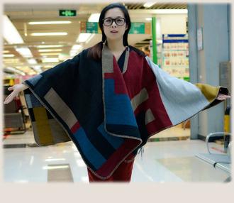 scarf colour block check blanket poncho poncho blanket scarf