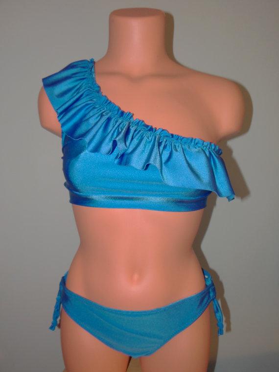 One Shoulder Ruffle String Bikini Set by AmandaJacksondesign