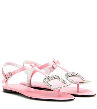 embellished sandals satin pink shoes