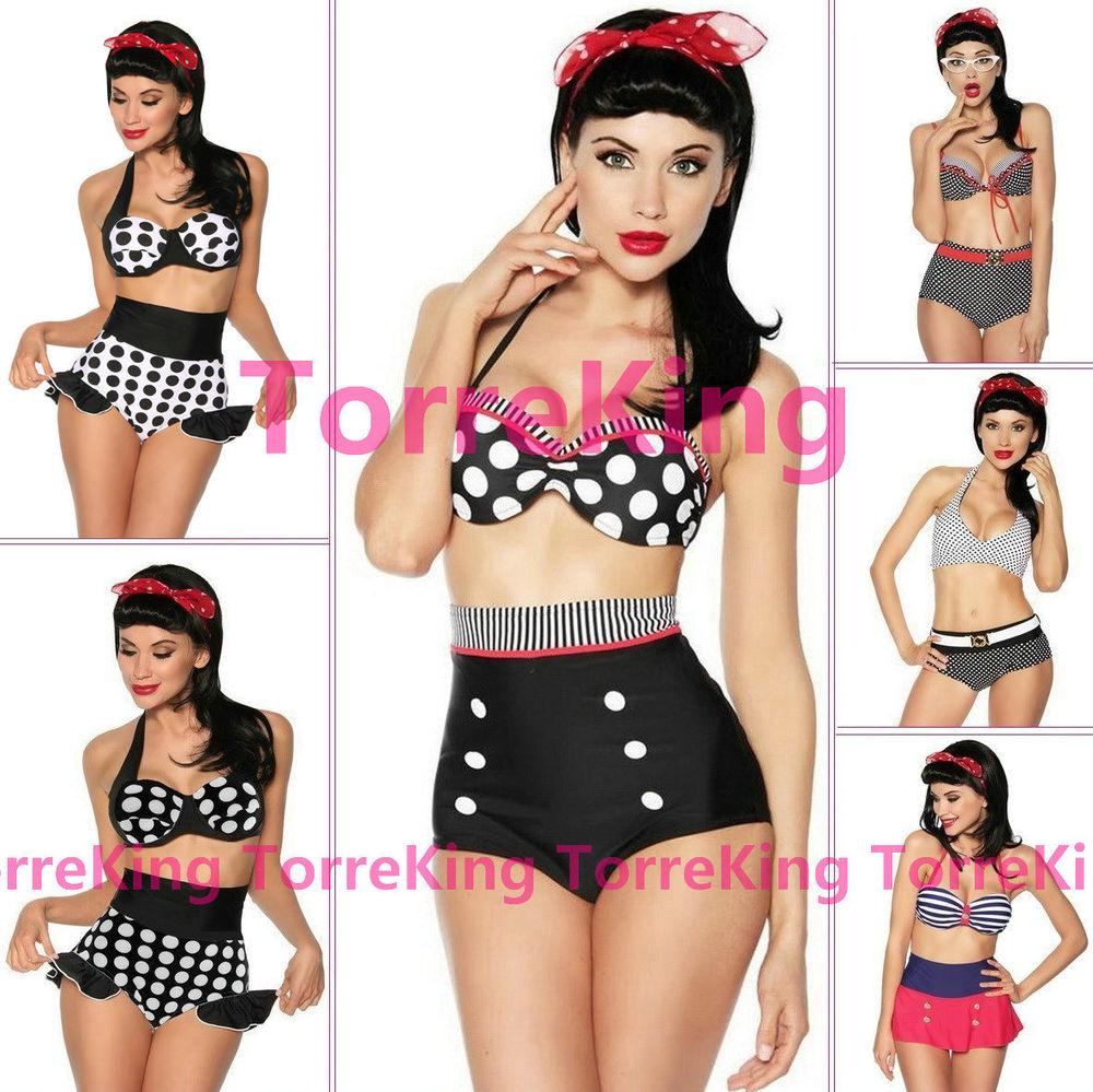 Retro Pinup Rockabilly Vintage High Waist Bikini Swimsuit Swimwear s M L XL XXL | eBay