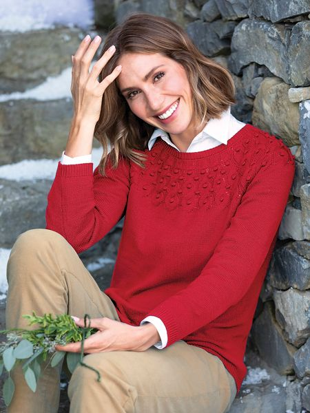 Cotton Cable-Yoke Sweater | Appleseeds