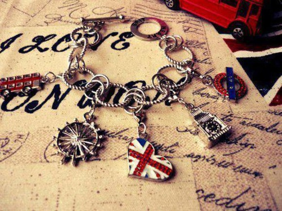 jewels union jack flag bracelet big ben charm british flag uk jewelry telephonebox , london eye