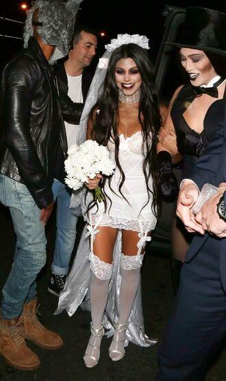 jewels necklace choker necklace tights white wedding dress kourtney kardashian halloween halloween costume halloween makeup kardashians underwear sexy lingerie shoes