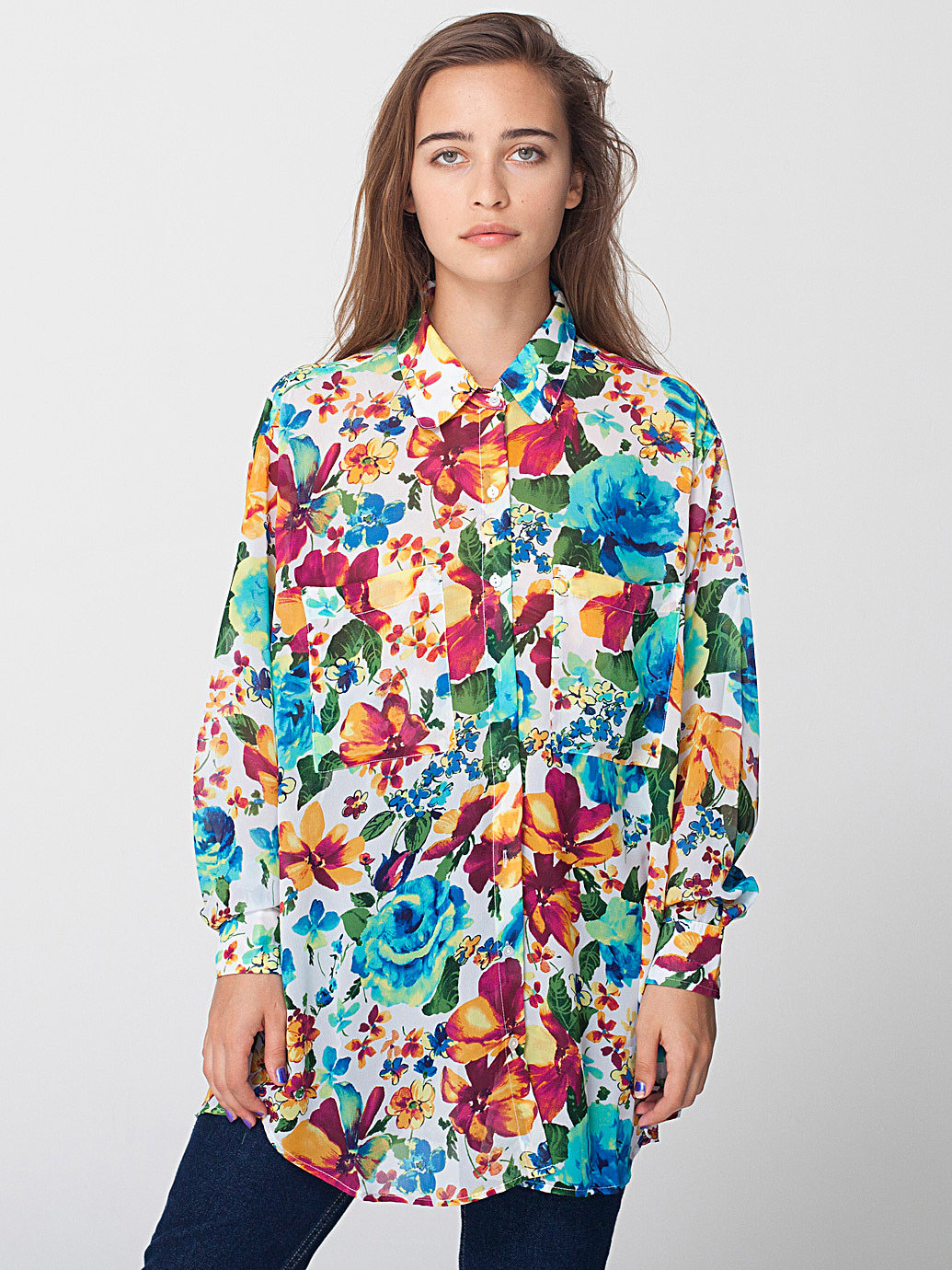 Floral chiffon oversized button