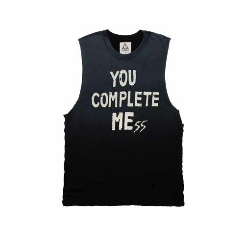SLEEVELESS FADED BLACK - YOU COMPLETE MESS - T SHIRTS - UNIF - BRANDS - FACTORY 413