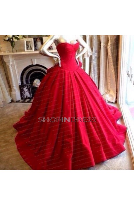 Ball gown sweetheart floor length satin red quinceanera dress with ruffles npd098003 sale at shopindress.com