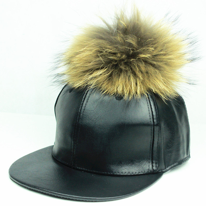 faux leather fur ball baseball cap fox pom vegan black caps poms winter perfect gift hat