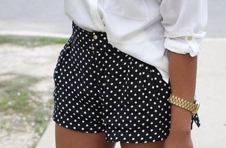 shorts polka dots black and white shorts high waisted shorts