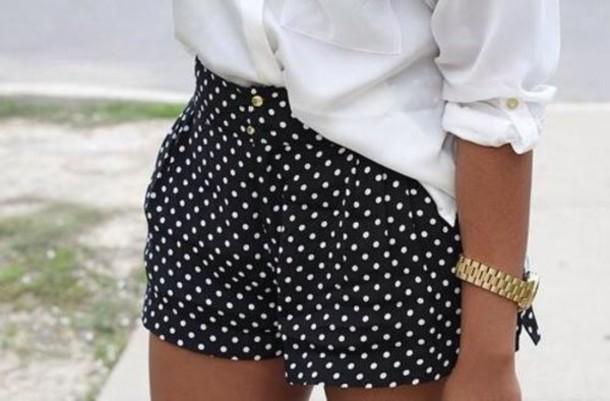811d3dd1ca shorts, polka dots, black and white shorts, high waisted shorts ...