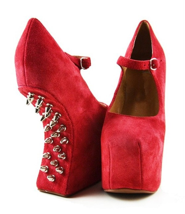 shoes platform shoes red pink heels wedges spikes silver straps buckles cute