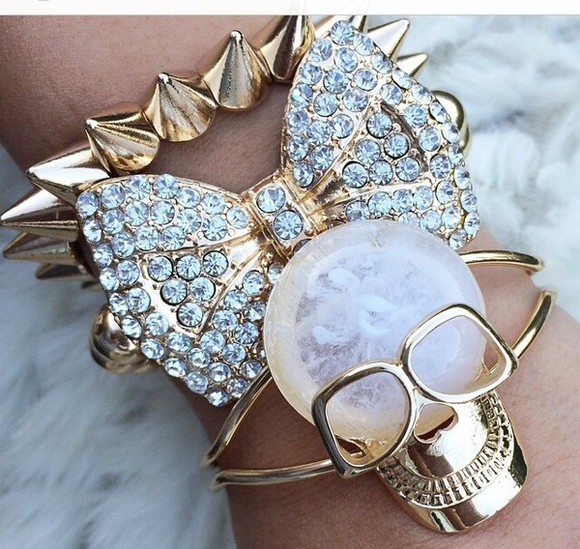 spikes gold jewels style skull bows bracelets diamonds
