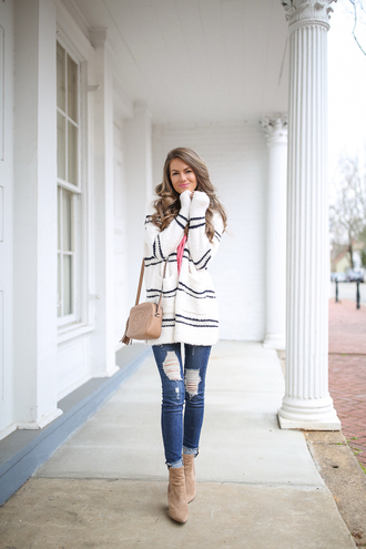 southern curls and pearls blogger cardigan jeans shoes bag jewels make-up gucci bag ankle boots winter outfits