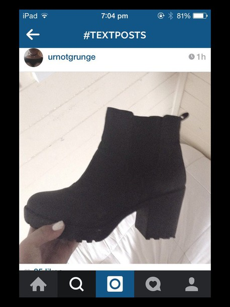 shoes chunky black boots heeled