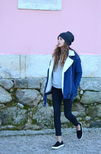 stella wants to die blogger jacket sweater shearling jacket denim jacket vans cropped pants