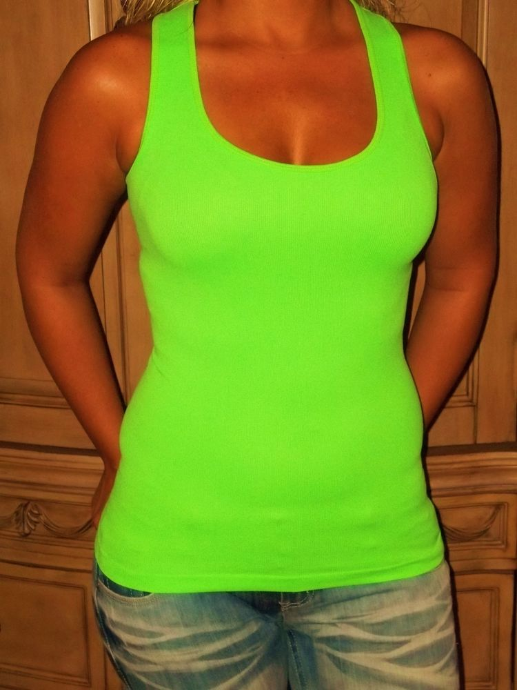 Sexy Hot Neon Green Low Cut Layering Ribbed Racerback Tank Top Tunic s M | eBay