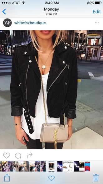 jacket black black bomber jacket bomber jacket biker jacket white top suede jacket black jeans yves saint laurent mini bag nude bag