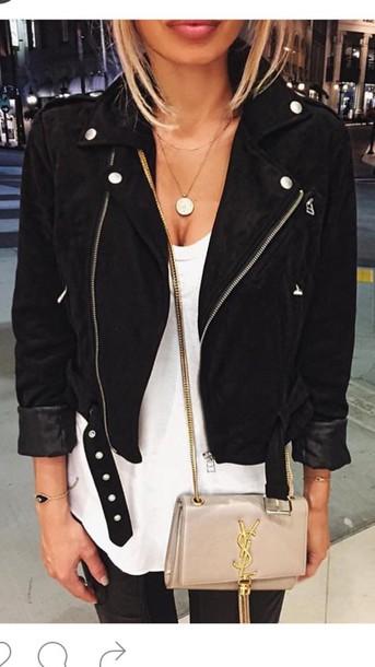 83706e1dd9a jacket black black bomber jacket bomber jacket biker jacket white top suede  jacket black jeans yves
