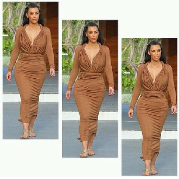 brown dress kim kardashian