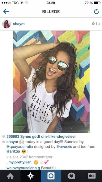 sunglasses style mirrored sunglasses mirroredsunglasses cool sunny fashion focus fashion denim jacket accessories accessory sunnies glasses shay mitchell celebrity style