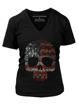 skull women red white and blue