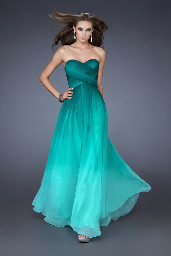 dress long prom dress evening dress long evening dress ombre chiffon prom dress peacock green bridesmaid sleeveless long