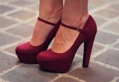 shoes,maroon heels,burgundy shoes,high heel pumps,mary jane