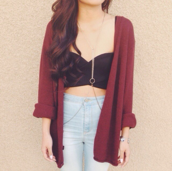 jeans jacket tank top cardigan burgundy sweater fall outfits