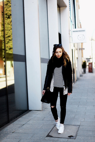 flirting with fashion blogger black jacket white sneakers casual