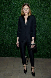 pants,blazer,suit,black,blogger,all black everything,olivia palermo,shoes