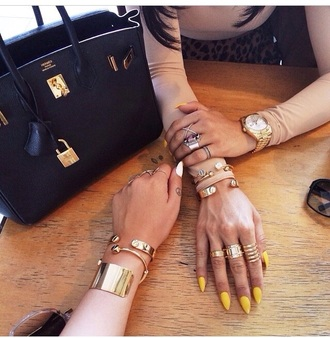 bag black jewels gold watch ring nails nail polish