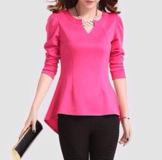 blouse pink top long sleeves rose pink peplum top asymmetrical top