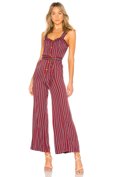 Free People City Girl Jumpsuit in burgundy