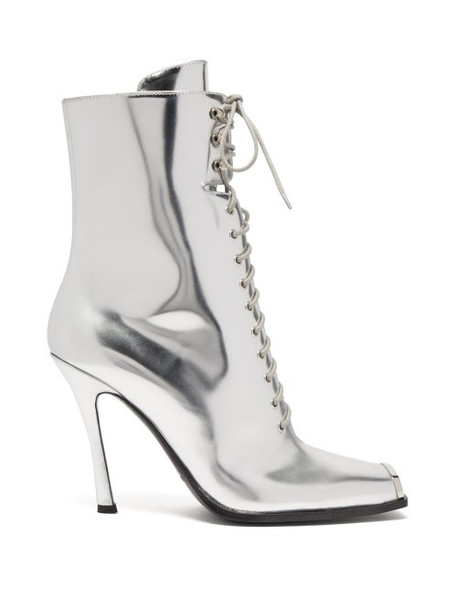 Calvin Klein 205w39nyc - Windora Lace Up Leather Boots - Womens - Silver
