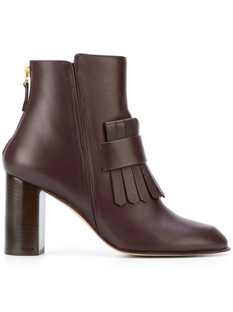 women ankle boots leather brown shoes